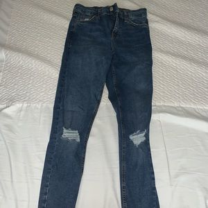 TOPSHOP Dark Blue Moto Jamie Jeans
